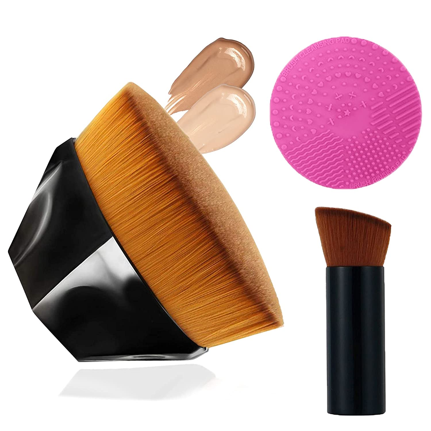 Foundation Brush Makeup Brushes Set, Momma Flawless Foundation Brush for Liquid Makeup, Flat Top Magic Brush and Small Inclined Top High-Density, for Cream Powder Cosmetics, with Cleaning Tool