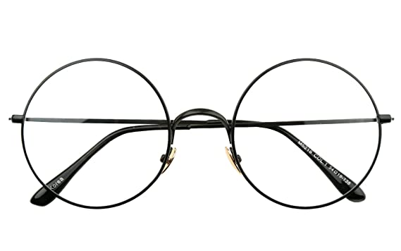 Amazon.com: Beison Retro Large Round Optical Metal Glasses Frame ...
