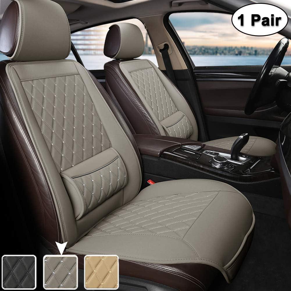 West Llama Universal Fit Auto Sitzauflagen Autositzbezüge Vordersitze Mit Lordosenstütze Und Kopfstützenabdeckung Diamant 1 Paar Grau Auto
