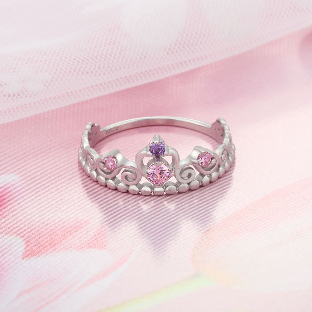 PHOCKSIN Engagement Rings 925 Sterling Silver Wedding Anniversary Promise Ring Bridal Princess Crown Cut (7) by PHOCKSIN (Image #4)