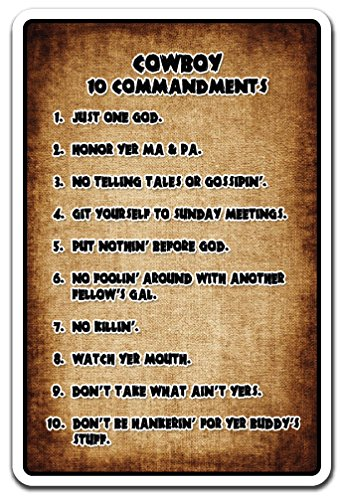Cowboy 10 Commandments Sign Country Southern Hillbilly Bible | Indoor/Outdoor | 12