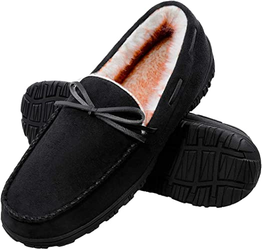 MENS NEW MOCCASIN WARM RUBBER SOLE PAADED COMFY SLIP ON FUR LINED SLIPPERS SIIZE