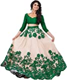 Bhurakhiya Women's Embroidered Green Semi Stitched Lehenga Choli With Blouse Piece (Green_FreeSize_JK5)