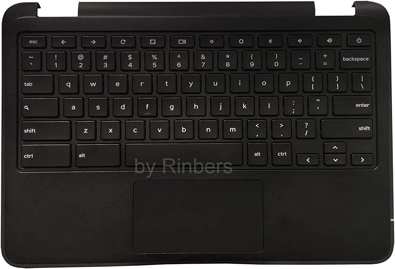 Rinbers Laptop Palmrest Upper Case with Keyboard and Touchpad Assembly- Part # 00YFYX for Dell Chromebook 11 3189