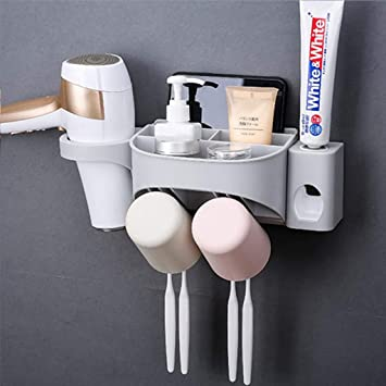 Pasta de dientes dispensador automático del cepillo de dientes titular del kit de exprimidor antipolvo con