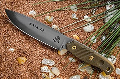 TOPS BAJA 4.5 Fixed Blade Knife Black River Wash Blade Green Micarta Handle BAJA-4.5 from TOPS Knives :: Combat Knife :: Tactical Knife :: Hunting Knife :: Fixed Blade Knife :: Folding Blade Knife
