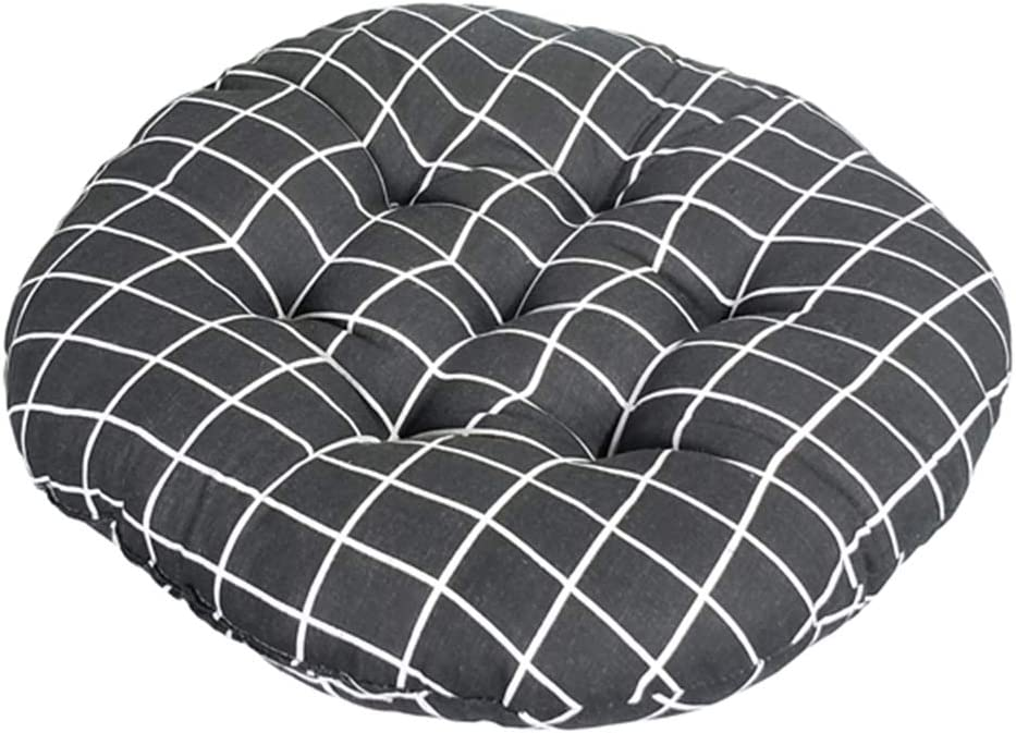 vctops Bohemian Soft Round Chair Pad Garden Patio Home Kitchen Office Seat Cushion Grid Balck Diameter 18""