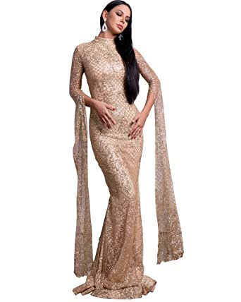 52f43b60 Miss ord Women Sexy High Neck Long Sleeve Split Glitter Dresses Female Maxi  Elegant Party Dress