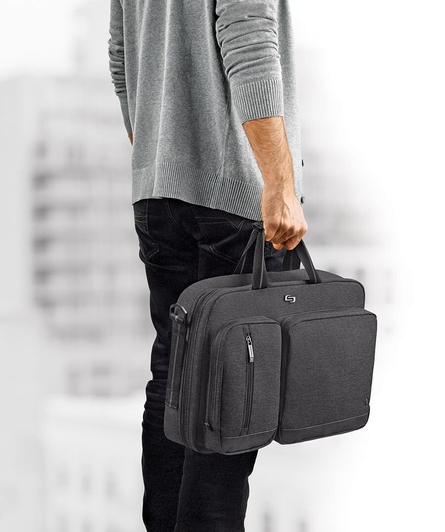 Solo Duane 15.6 Inch Laptop Hybrid Briefcase, Converts to Backpack, Grey by SOLO (Image #8)