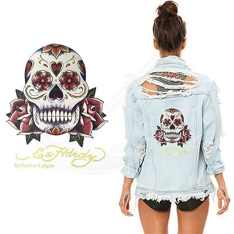 HY7 DIY Decoración Ropa Skeleton Pegatinas Parche DIY Camisa Sudadera con capucha y vaquero transferencia térmica
