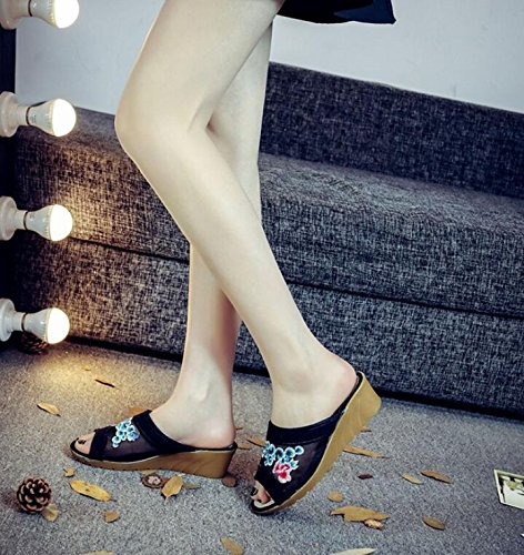 High Black Thick Home Sandals Shoes By Shoes New Slippers Folk Heeled KPHY Embroidered Style Baotou qxZ4t6wnfW