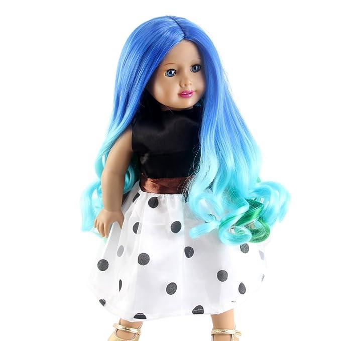 stfantasy American Girl muñeca peluca Ombre azul y verde ...