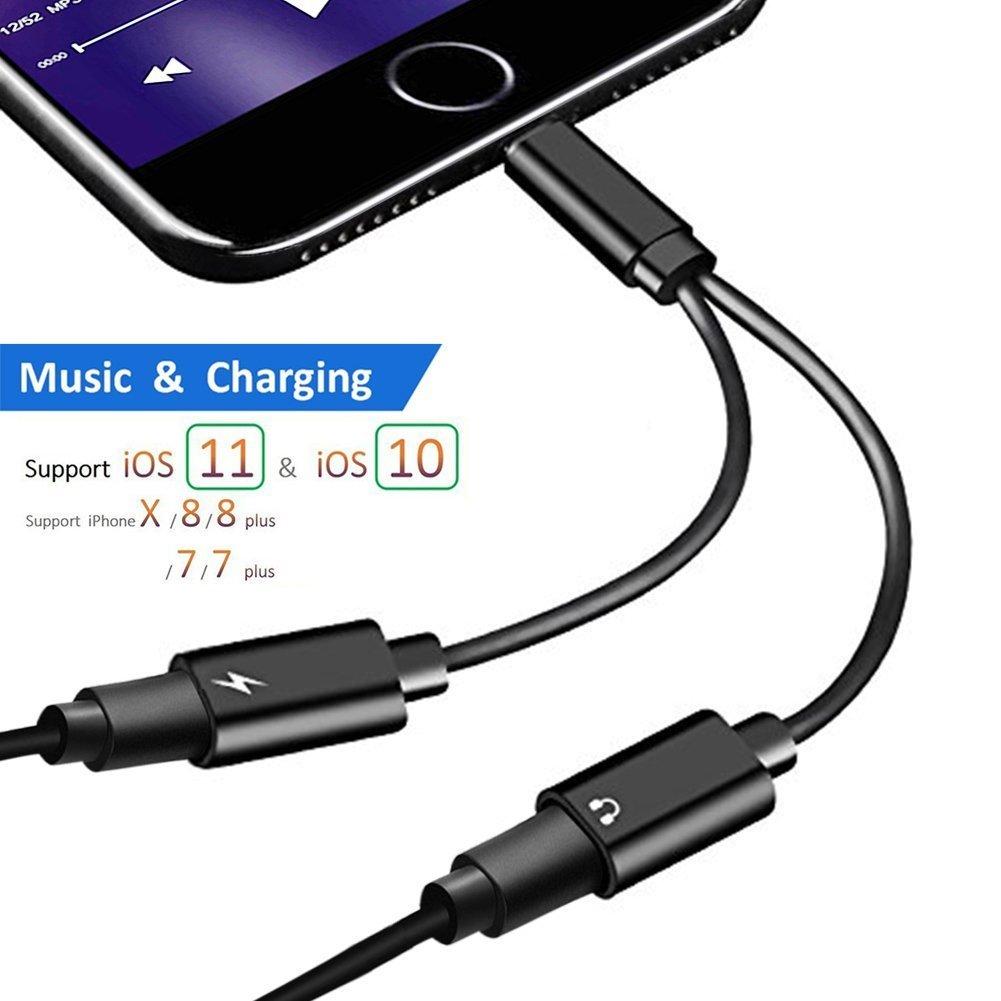 Double adaptateur audio auxiliaire de foudre et c/âble de charge Jack Jackning Adaptateur Jack Jack pour iPhone X // 8 // 8plus iPhone 7//7 Plus Call + Charge + Audio + Contr/ôle du v Chargeur de casque et chargeur pour iOS 10.3 // 11 ou plus tard