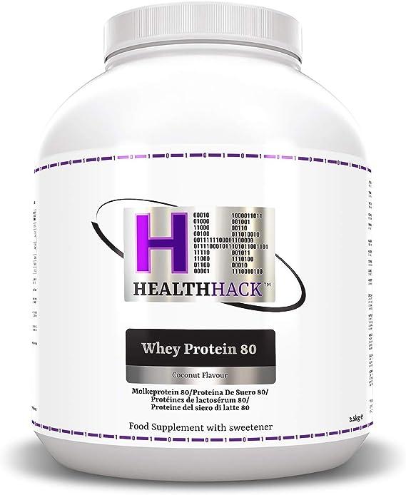 Health Hack - Proteína de suero de leche 80 %, 2,5 kg, coco