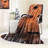 YOYI-HOME Lightweight Summer Duplex Printed Blanket,Antique Knotted Pine Wood with Control Window Lumber