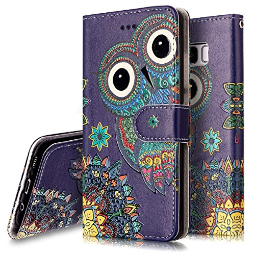 PHEZEN Galaxy S8 Case,Galaxy S8 Wallet Case, Aztec Owl Design Pu Leather Wallet Case with Card Slots Stand Book Style Folio Flip Cover for Samsung Galaxy S8, Owl