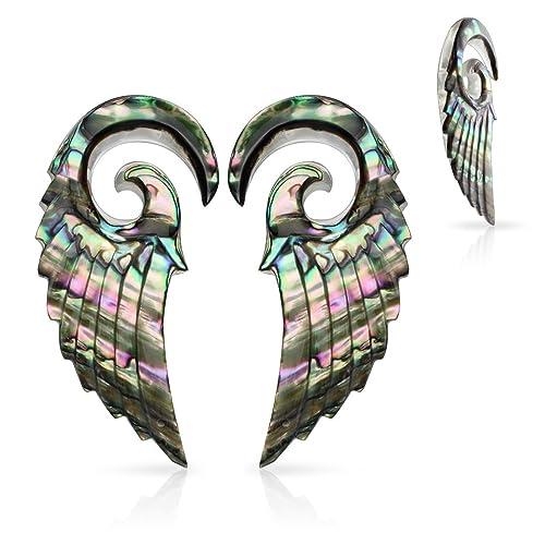 6.5Mm MsPiercing Pair Of Organic Abalone Angel Wing Spiral Taper Gauge: 2 Mr.Piercing Tapers pr/_sku/_212709