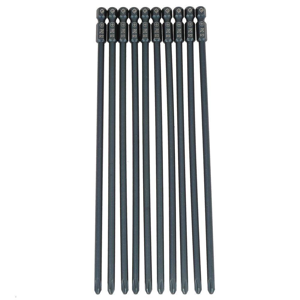 10pcs 200mm Long Philips Tournevis Set S2 Acier 1/4inch Hex Shank Croix Magné tique PH2 Tournevis Bits Hilitand