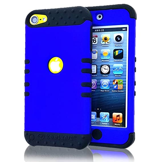 finest selection 78b31 3ab40 iPod Touch 5 Case, iPod 6 Case iTouch 5th & 6th Gen Cover Hybrid Heavy Duty  Shock Resistant Silicon Skin & Hard Shell (Blue / Black)
