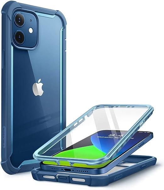 i-Blason Coque iPhone 12 Mini 5G (2020) 5,4'' [Série Ares] Protection Intégrale Bumper Antichoc Dos Transparent avec Protecteur d'écran Intégré (Bleu)
