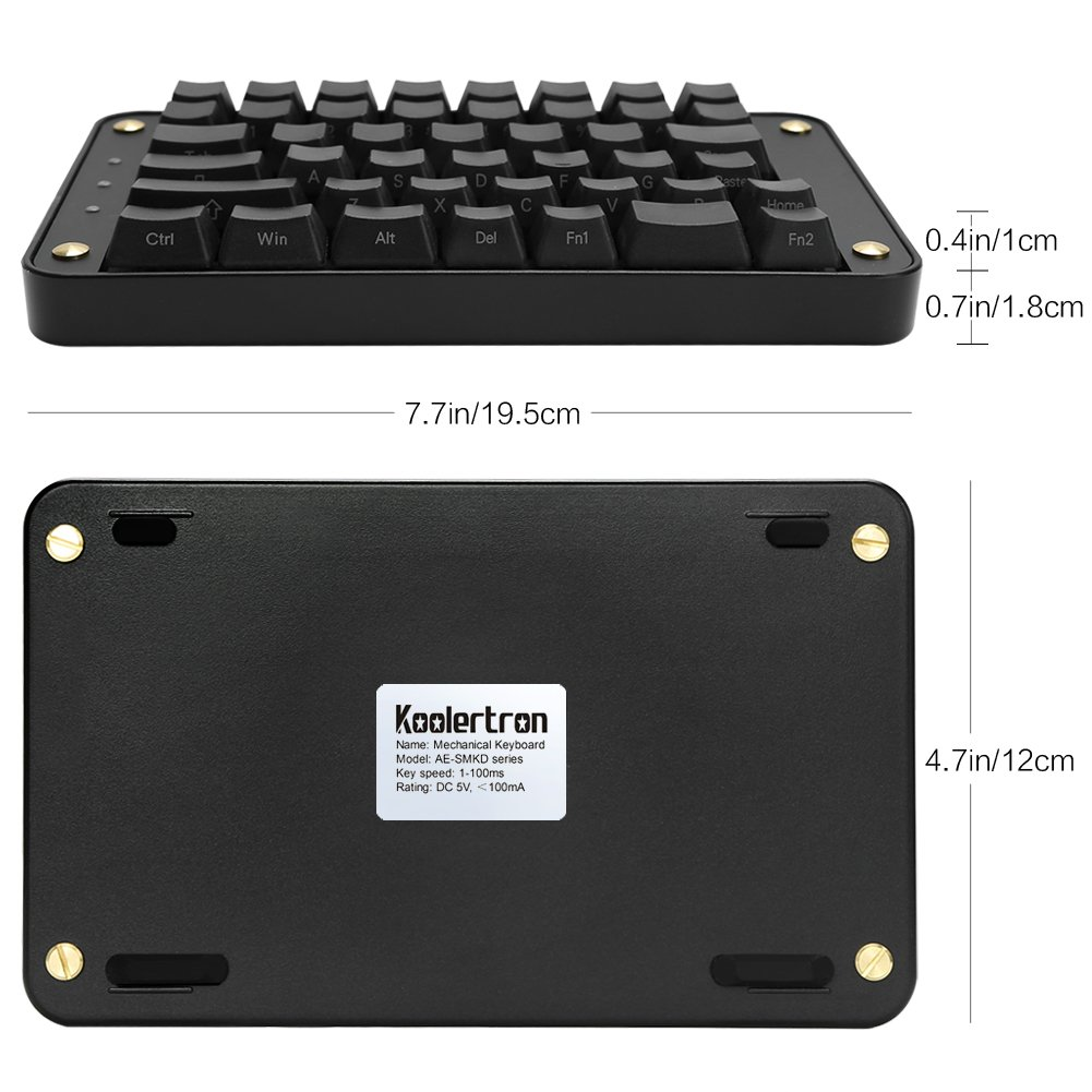 Koolertron - Teclado mecánico Dividido programable, Interruptor Negro OEM Gateron, 89 Teclas, ergonómico, 8 Teclas Macro: Amazon.es: Informática