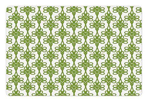 (Ambesonne Irish Pet Mat for Food and Water, Entangled Clover Leaves Twigs Celtic Pattern Botanical Filigree Inspired Retro Tile, Rectangle Non-Slip Rubber Mat for Dogs and Cats, Green Cream)