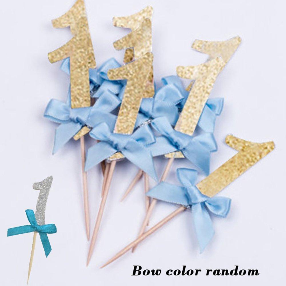 Shyymaoyi Adorable lazo con forma de lazo n/úmero 1 suministros de decoraci/ón de regalo fiestas magdalenas decoraci/ón para tarta de cumplea/ños 12 unidades Golden+blue