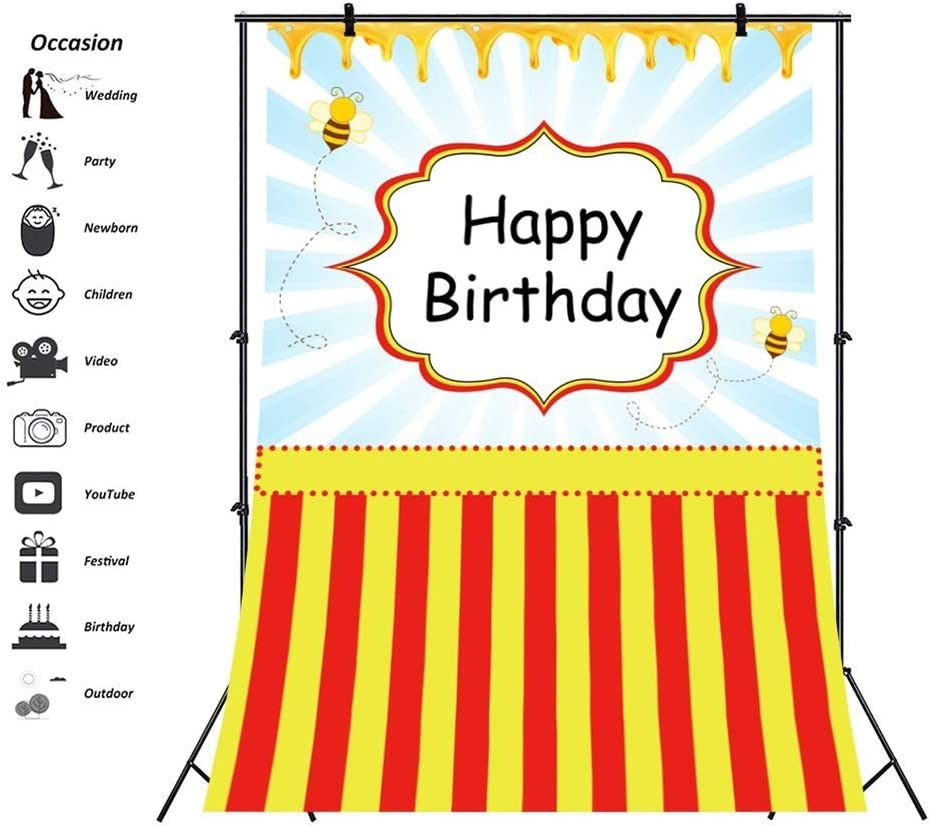 10x10ft Happy Birthday Vinyl Photography Background Golden Glitter Eiffel Tower Oval Banner Flowers Edge Black Lateral-Cut Backdrop Child Baby Adult Birthday Party Banner Chic Wallpaper