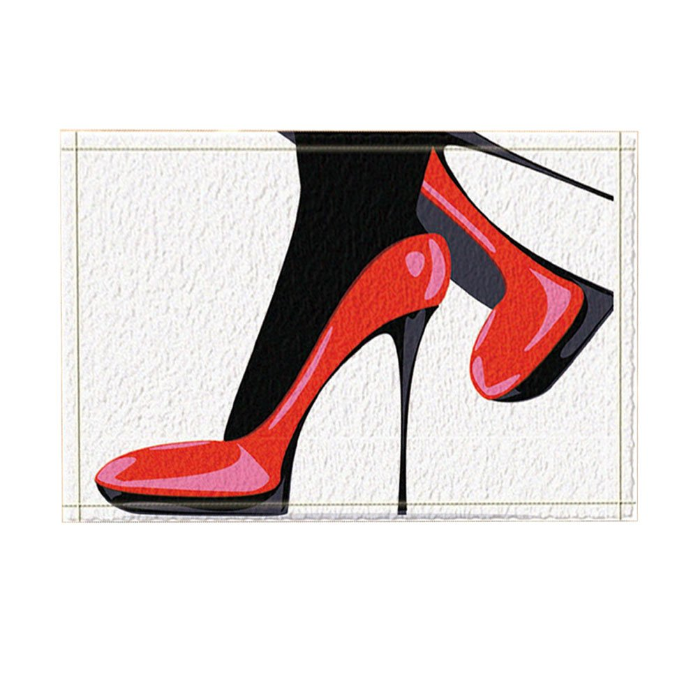 NYMB Fashion Girly Decor, Modern City Lady with Red High Heels Bath Rugs, Non-Slip Doormat Floor Entryways Indoor Front Door Mat, Kids Bath Mat, 15.7x23.6in, Bathroom Accessories