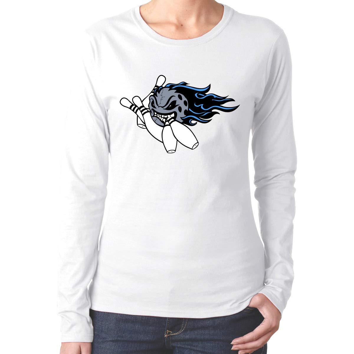 MiiyarHome Womens Long Sleeve T-Shirts Bowling Lover Tee Teen Girls Printed Long Sleeves Black