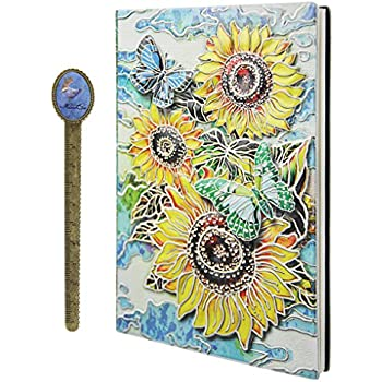 Amazon.com: Vintage en relieve Diario de piel – Cuaderno (A5 ...