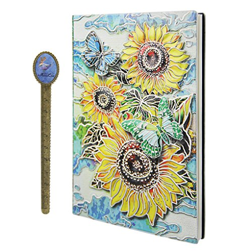 Embossed Sunflower Leather Notebook A5 Retro Travel Journal to Write in,Lined Beige Paper,100 Sheets,Personal Diary Journal Notebook With Ribbon Bookmark,School Office Stationery Gift for Teens&Adults
