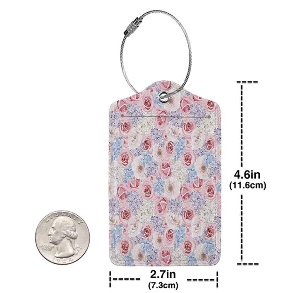 Personalized luggage tag Roses Decorations Collection Roses Lilacs And Hydrangea Holidays Spring Celebrate Cheerful Design Easy to carry Pink Purple W2.7 x L4.6