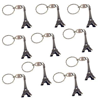 10x Milopon Porte-clés Forme de la Tour Eiffel Créative Keychain Porte Clef Pour Cadeau Anniversaire Sac Bronze