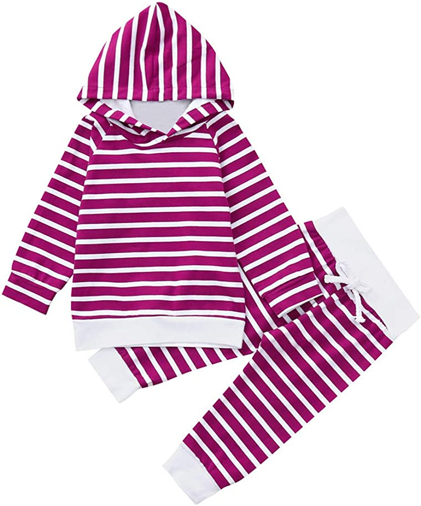 2PCS Newborn Infant Baby Boys Girls Hooded Tops+Pants Stripe Clothes Outfits Set