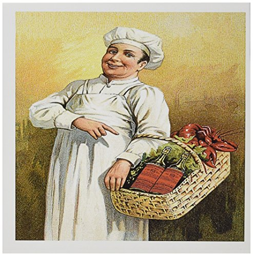 3dRose Greeting Cards, 6 x 6 Inches, Pack of 12, Vintage Chef Carry Basket of Lobsters and Wine (gc_149262_2)