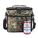 Insulated Lunch Bag: Travellor Lunch Tote Bag Box Cooler Bag,Insulation Bag Cooler Bag Freezable,Insignia Mall Adult Lunch Box For Work, Men, Women With Adjustable Strap, Front Pocket and Side Pocket [Unisex Lunch Bags] 8.7Hx5.5Wx10.8L Inches (Army)