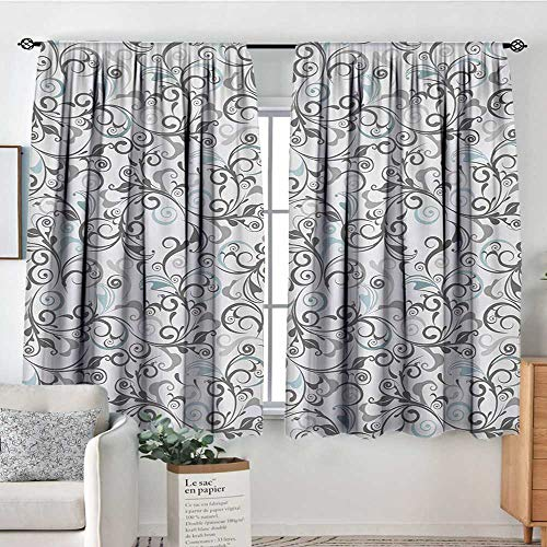 All of better Floral Blackout Window Curtain Damask Antique Baroque Curls Classic Old Fashioned Artistic Royal Revival Customized Curtains 63