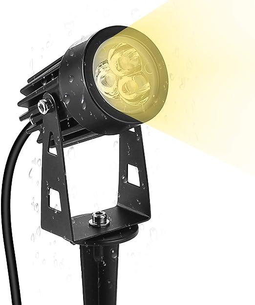 Lámparas de Jardín con Punta de Tierra, Foco LED con Enchufe, Luz de Jardín de 3W, Lámpara de Exterior IP65 para Jardín, Patio, Planta, Iluminación de Senderos [Clase Energética A ++]: Amazon.es: