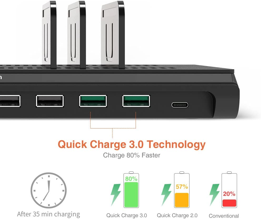Alxum USB Charging Station iPhone iPad XiaoMi Samsung Galaxy Fast 120W 10 Port Phone Docking Station Organizer with Smart IC 2 Quick Charge 3.0 /& Type C Desktop Charger Dock for Multi Devices