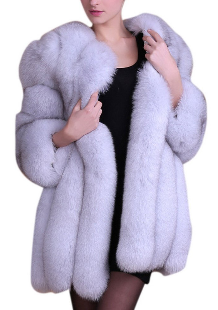 Women's Winter Thick Outerwear Warm Long Fox Faux Fur Coat (US 10-12, grey)