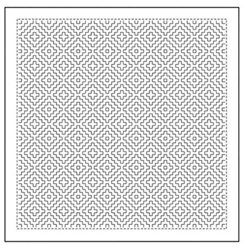 (Sashiko Fabric - Pre-printed Sashiko Sampler - # 1017 Kaki-no-Hana - White)