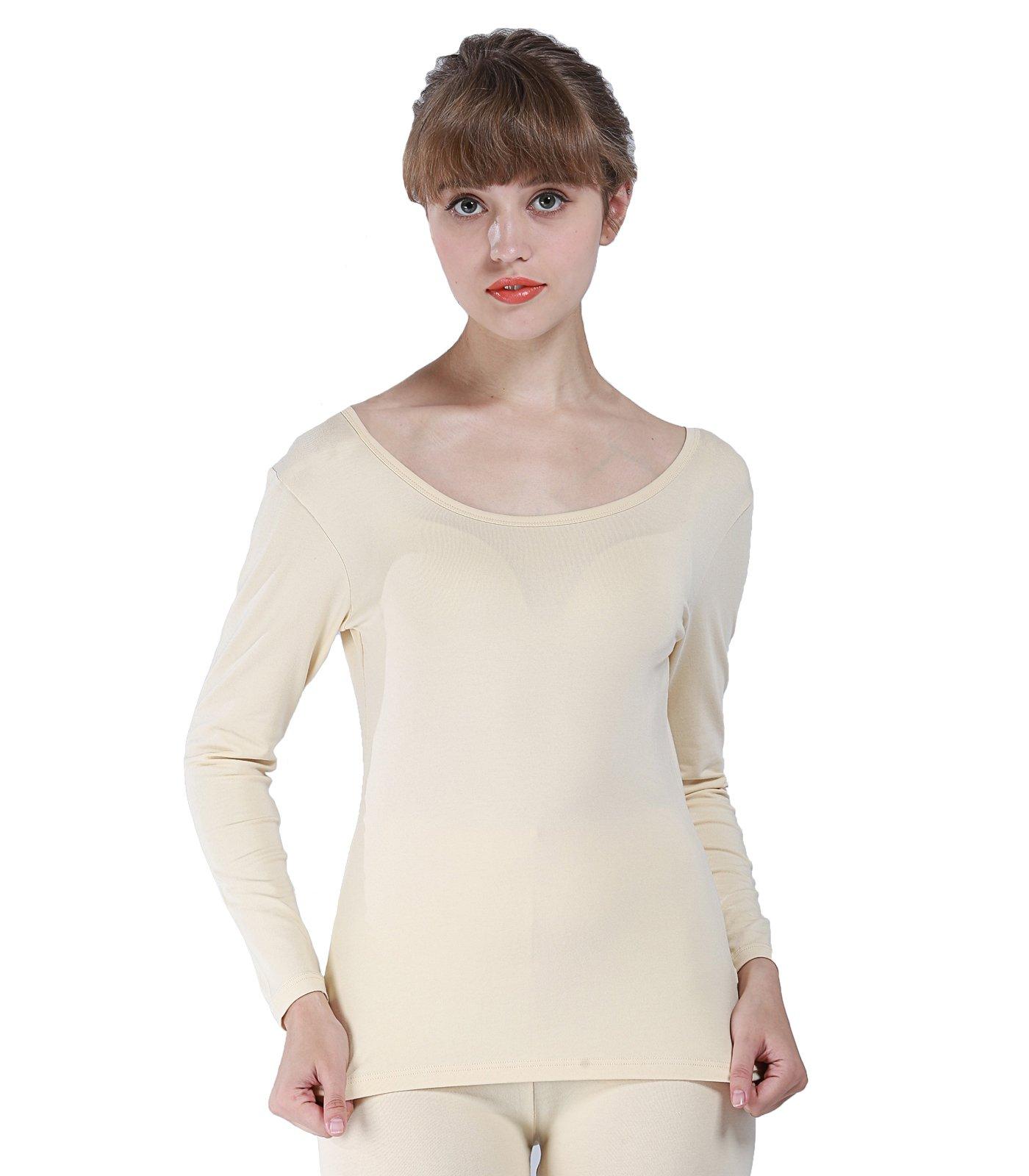 Liang Rou Women's Thermal Round Neck Shirt Apricot L