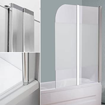 Duschabtrennung glas satiniert  Glas Badewannen Milchglas Duschabtrennung Badewannenfaltwand ...
