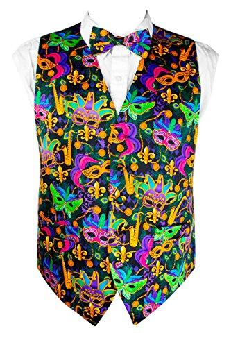 Mardi Gras Colorful, Vibrant Masquerade Mask Vest Set (Classy Outfits For Men)