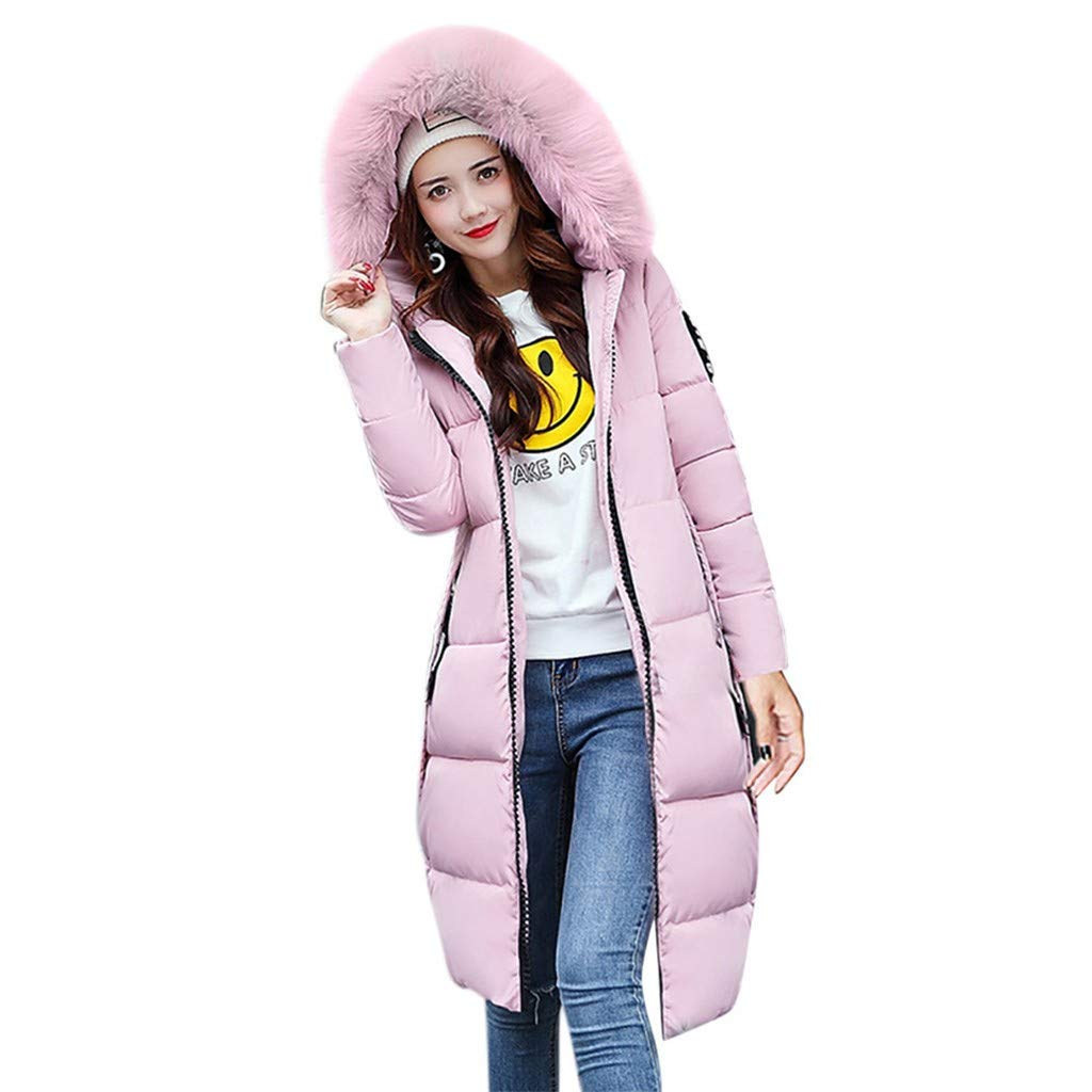 FengGa Women Solid Casual Thicker Winter Slim Down Jacket Coat Long Slim Overcoat Pink by FengGa