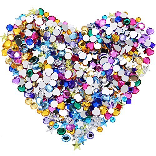 Blulu 600 Pieces Gems Acrylic Craft Jewels Flatback Rhinestones Gemstone Embellishments Heart Star Square Oval and Round, 6 to 10 mm, Assorted Color (Brads Rhinestone)