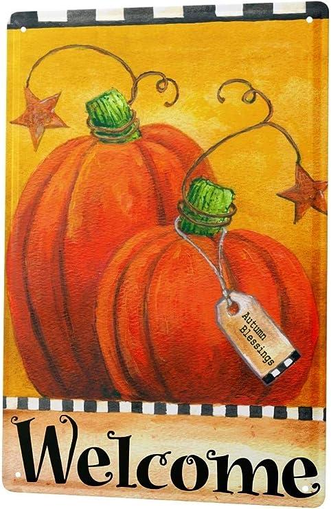 Blechschild Retro Herbst K?rbisse Willkommen