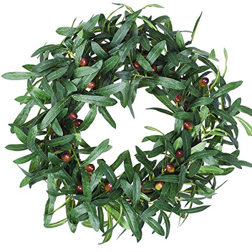 HEBE Artificial Green Olive Leaves Wreath - 18