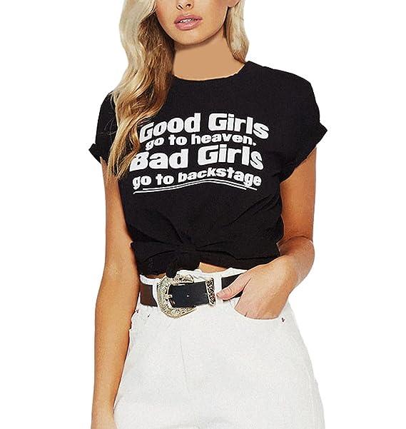 Blusa Mujer Basicas Verano Moda Camiseta Manga Corta Cuello Redondo Ropa Letra Estampado Tops Elegantes Casual Simple Chica T Shirt: Amazon.es: Ropa y ...